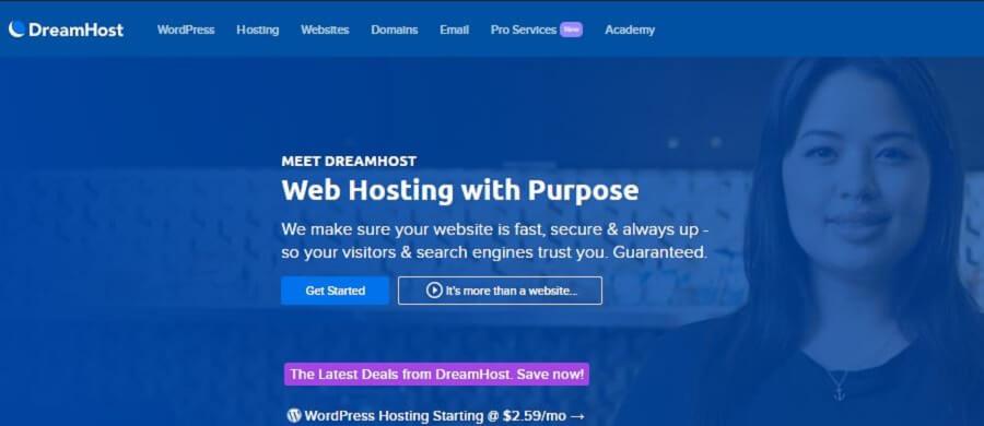 Sitio web de Dreamhost